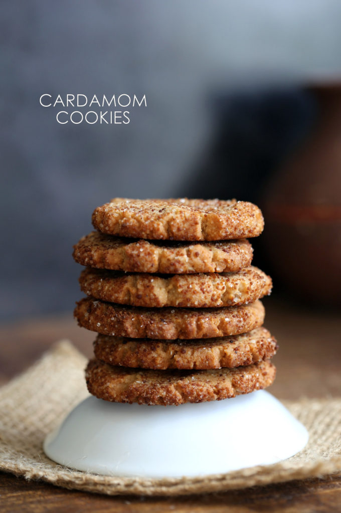 Easy Vegan Cardamom Cookies. These soft cookies are a cross between cardamom shortbread and snickerdoodles. #Vegan #Soyfree Recipe. #Glutenfree option.