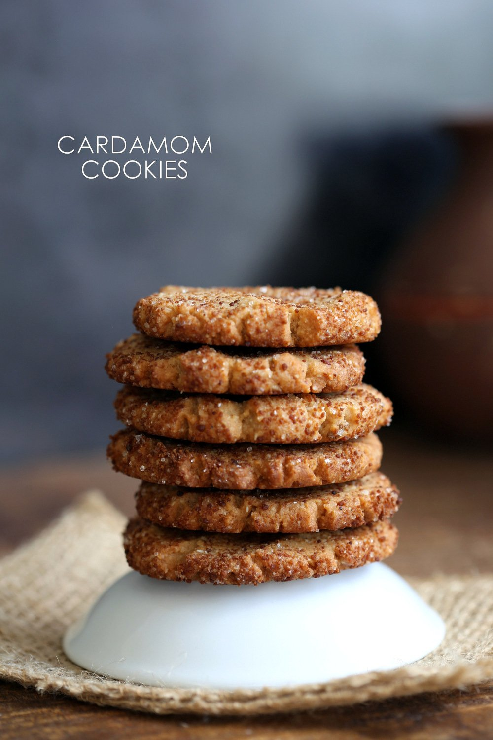 Easy Vegan Cardamom Cookies. These soft cookies are a cross between cardamom shortbread and snickerdoodles. #Vegan #Soyfree #palmoilfree #Recipe. #Glutenfree option.