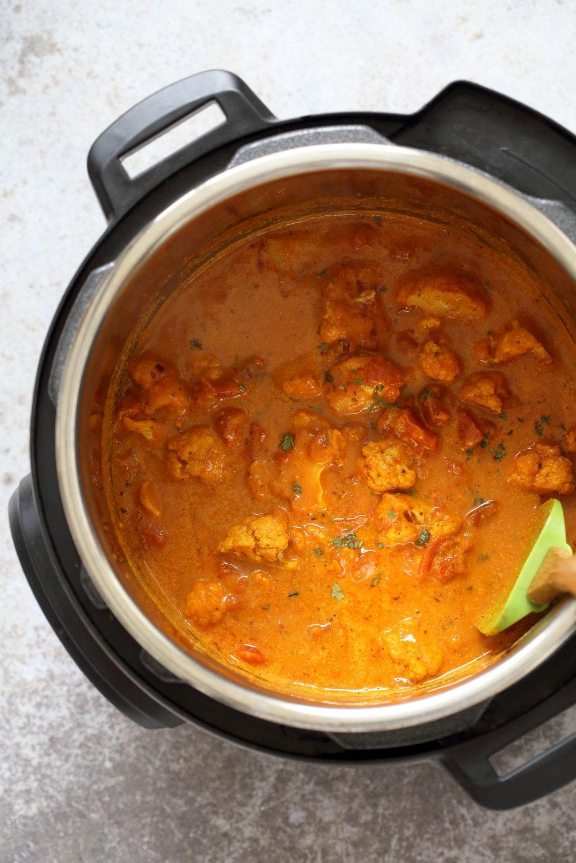 Vegan Cauliflower Tikka Masala with Instant Pot Tikka Masala Sauce. Flavorful Weekday Dinner. #Veganricha #vegan #recipe #Glutenfree #Soyfree #Nutfree option