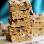 Vegan Pumpkin Blondies! Easy Nut Butter Pumpkin Blondies with Pecans and chocolate chips. No Added oil. #veganricha #vegan #Nutfree #Glutenfree option