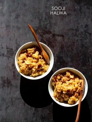 Instant Pot Sooji Halwa - Rava Kesari / Sheera.Vegan Indian Spoon Fudge. Add pineapple or bananas for Pienapple or Banana Sheera. Can be nutfree, glutenfree #veganricha #vegan #indian #soojihalwa
