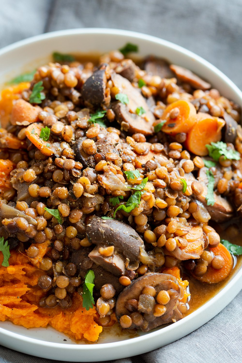 Instant Pot Lentil Mushroom Stew with Easy Mashed Sweet Potatoes. 1 Pot 30 Minute. Upside down Lentil Shepherds Pie! #VeganRicha #Vegan #Glutenfee #Nutfree #soyfree #Recipe Stovetop option