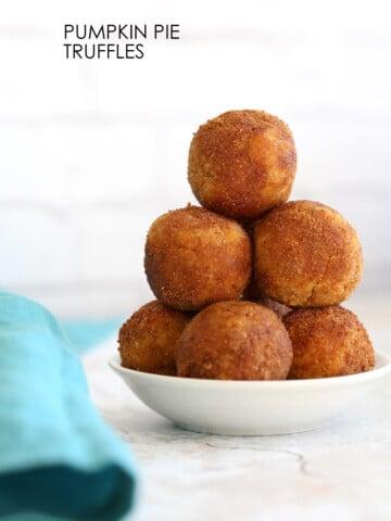 Vegan Pumpkin Pie Truffles or No Bake Pumpkin Donut Holes. These fudgy bites are perfect for fall. #VeganRicha #Vegan #Glutenfree #Soyfree #Recipe