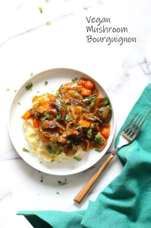 Vegan Mushroom Bourguignon served over Potato Cauliflower Mash. All Cooked in an Instant Pot together with PIP (pot in pot). ##VeganRicha Vegan #Glutenfree #Nutfree Recipe, can be #Soyfree