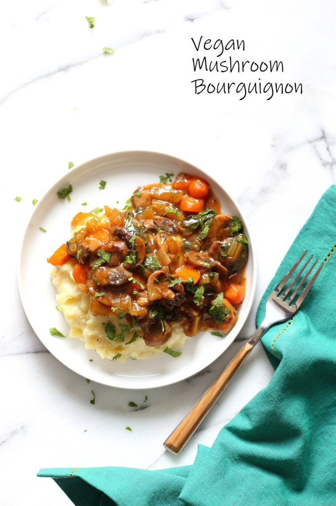 Vegan Mushroom Bourguignon With Potato Cauliflower Mash – Instant Pot