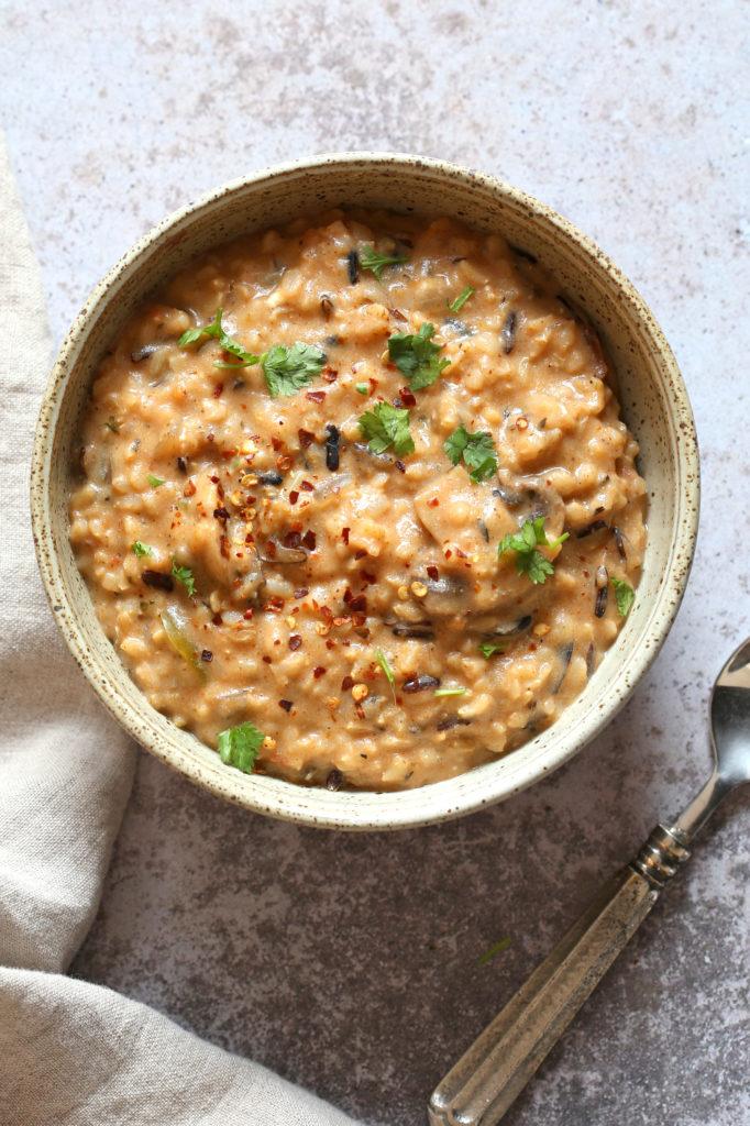 Instant Pot Wild Rice Mushroom Soup Vegan
