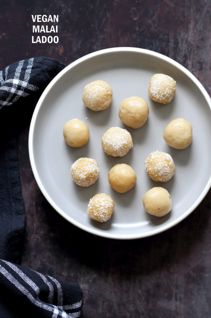 Vegan Malai Ladoo. Sweet Fudge balls that are flavored with cardamom. Festive Indian Sweet. Dairy-free Ladoo. #veganRicha #Vegan #Glutenfree #Soyfree #Recipe Can be #oilfree.