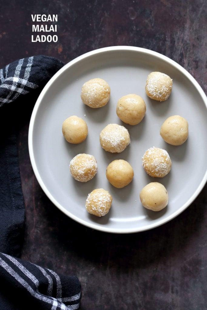 Vegan Malai Ladoo – Cardamom Cream Fudge Balls