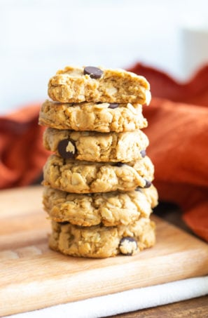 Vegan Peanut Butter Oatmeal Chocolate Chip Cookies 1 Bowl