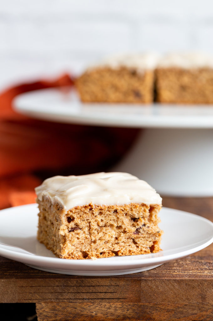 Vegan Spice Cake. Super Moist Spiced Cake with tons of winter spice flavor and Vegan Cream Cheese Frosting. #Vegan #Nutfree #Recipe. Glutenfree option.#VeganRicha | VeganRicha.com