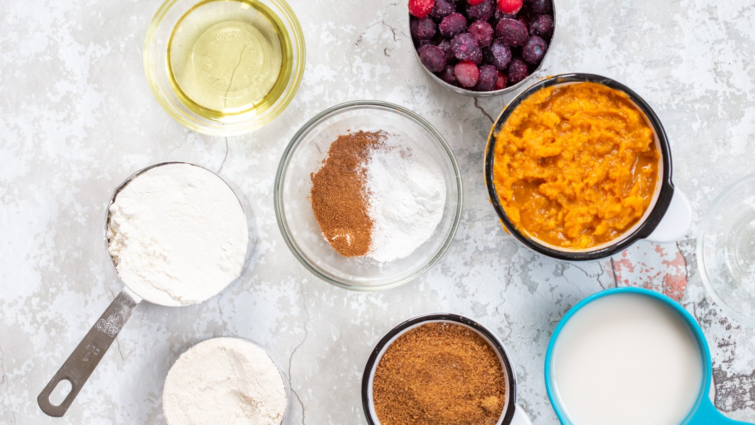 Vegan Sweet Potato Bread Ingredients in bowls and cups