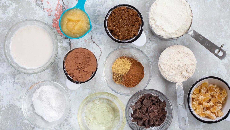 Vegan Chocolate Gingerbread Cake ingredients