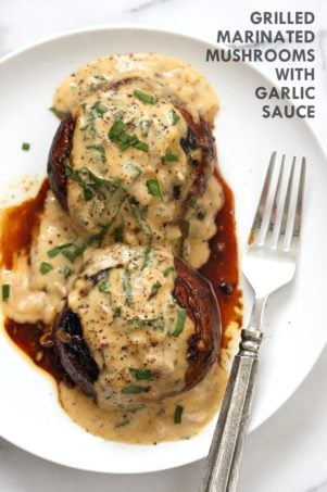 Marinated Grilled Portobello with Garlic Sauce #VeganRicha