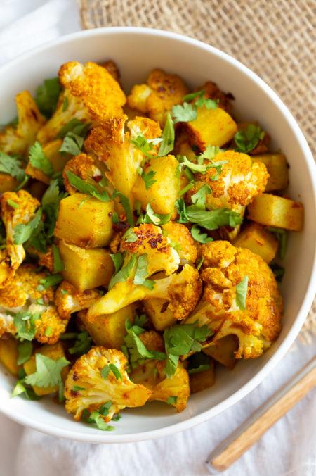 Baked Aloo Gobi - Indian Spiced Potato Cauliflower Bake. Tips and options for Aloo Gobi Subzi that bakes perfectly every time! #Vegan #Glutenfree #Soyfree #Nutfree #VeganRicha #aloogobi #Recipe