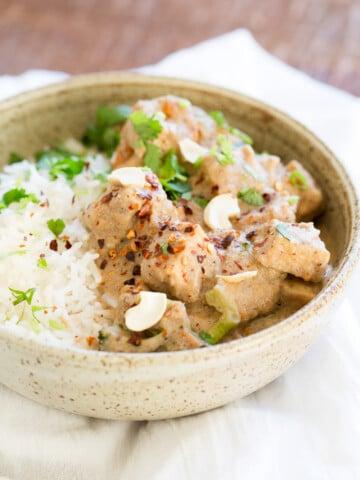This Creamy Veggies and Tofu Korma is made in Instant Pot Pressure cooker. Instant Pot Vegan Korma Recipe with White Korma Sauce. #Vegan #Glutenfree #Recipe #VeganRicha Soyfree, Nutfree option
