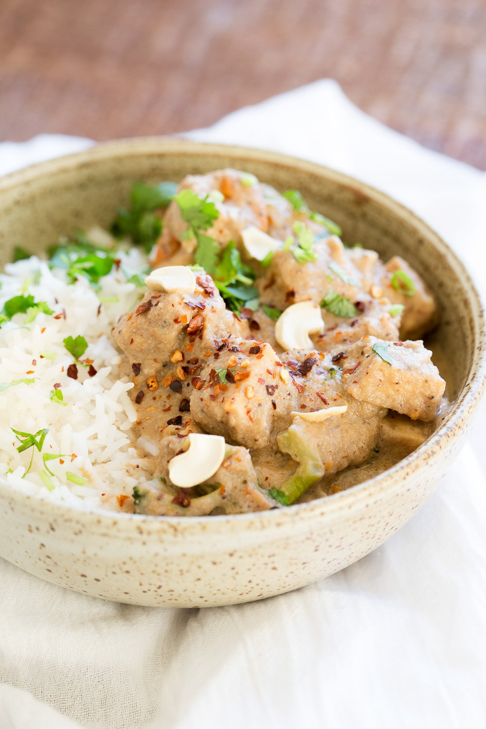 Instant Pot Vegan Korma Recipe with White Korma Sauce. This Creamy Veggies and Tofu Korma is made in Instant Pot Pressure cooker. Stovetop option. #Indian #Vegan #Glutenfree #Recipe #VeganRicha Soyfree, Nutfree option