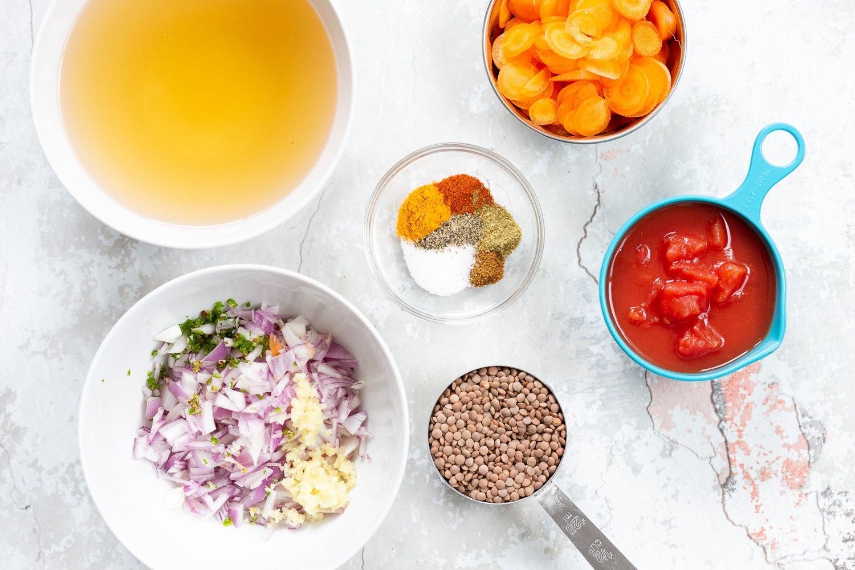 Ingredients in bowls for Our Vegan Lentil Soup