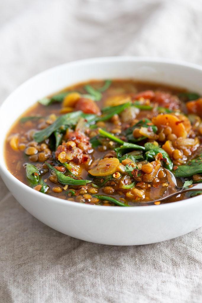 Vegan Lentil Soup Instant Pot or Saucepan