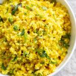 LemonyTurmeric Cauliflower Rice. Easy Side with any meal. 1 Pot Lemon Cauliflower Rice with mustard seeds and garlic. #Vegan #Glutenfree #Grainfree #Nutfree #Recipe #Turmeric #cauliflowerrice #veganrucha