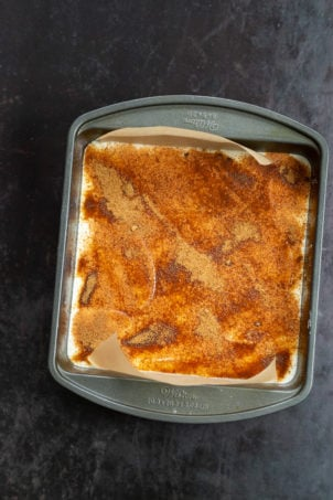 Our Vegan Apple Custard Squares in a lined brownie pan
