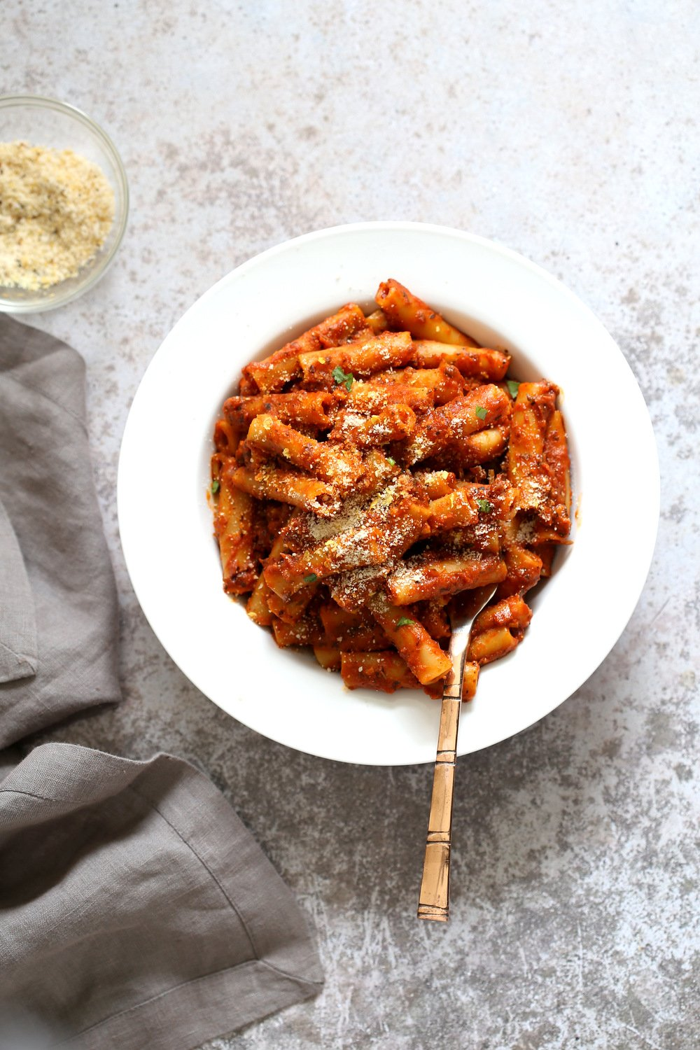 Instant Pot Ziti with Tomato Sauce. Date Night Quick Pasta Meal with Ziti, sprinkled with vegan parm and fresh herbs. 1 Pot #Vegan #ziti #Soyfree #Recipe #VeganRicha #instantPot #pasta . Easily #Glutenfree, #Nutfree