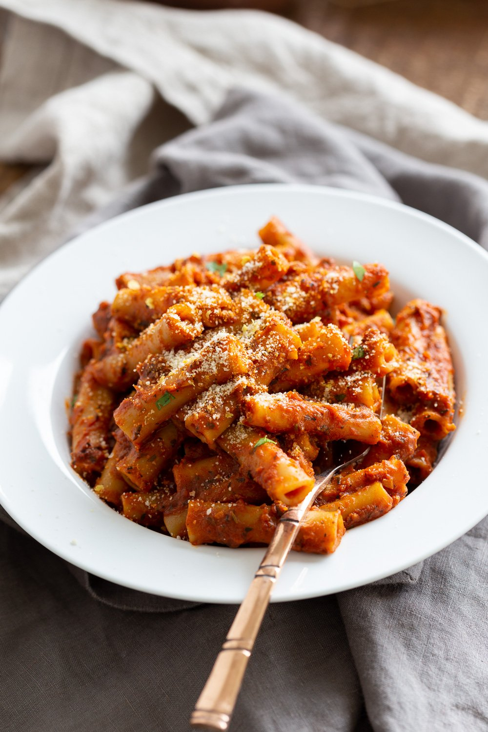 Instant Pot Ziti with Tomato Sauce. Date Night Quick Pasta with Ziti, sprinkled with vegan parm and fresh herbs. #Vegan #Soyfree #Recipe #VeganRicha #instantPot #pasta . Easily #Glutenfree, #Nutfree