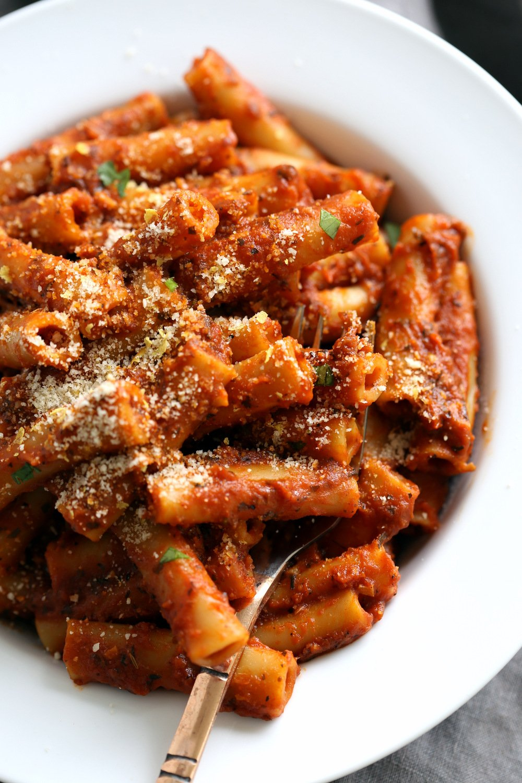 Instant Pot Ziti with Tomato Sauce. Date Night Quick Pasta with Ziti, sprinkled with vegan parm and fresh herbs. #Vegan #Soyfree #Recipe #VeganRicha #instantPot #pasta . Easily #Glutenfree, #Nutfree