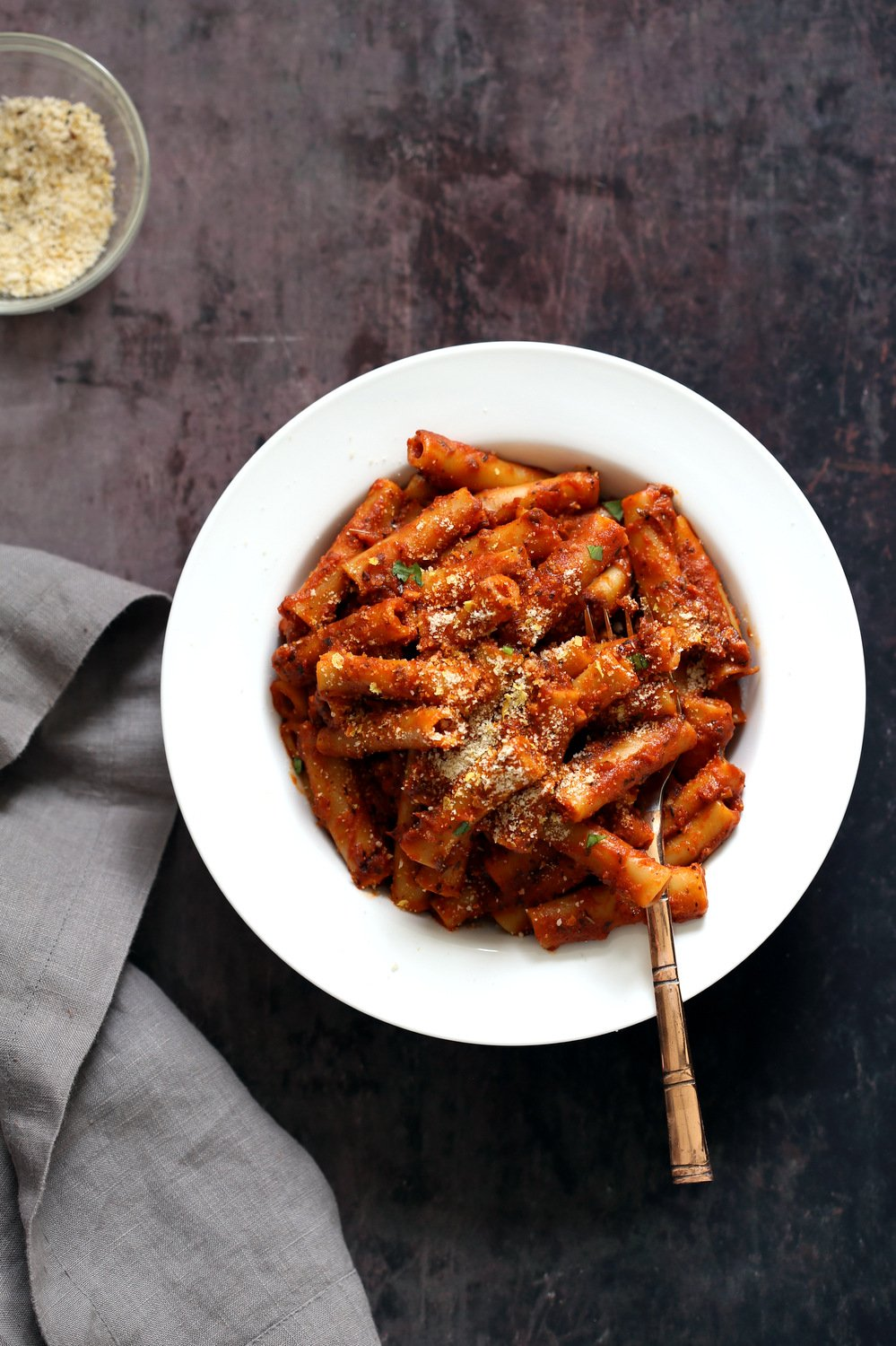 Instant Pot Baked Ziti with Tomato Sauce. Date Night Quick Pasta. Vegan Ziti, sprinkled with vegan parm and fresh herbs. #Vegan #Soyfree #Recipe #VeganRicha #instantPot #pasta . Easily #Glutenfree, #Nutfree