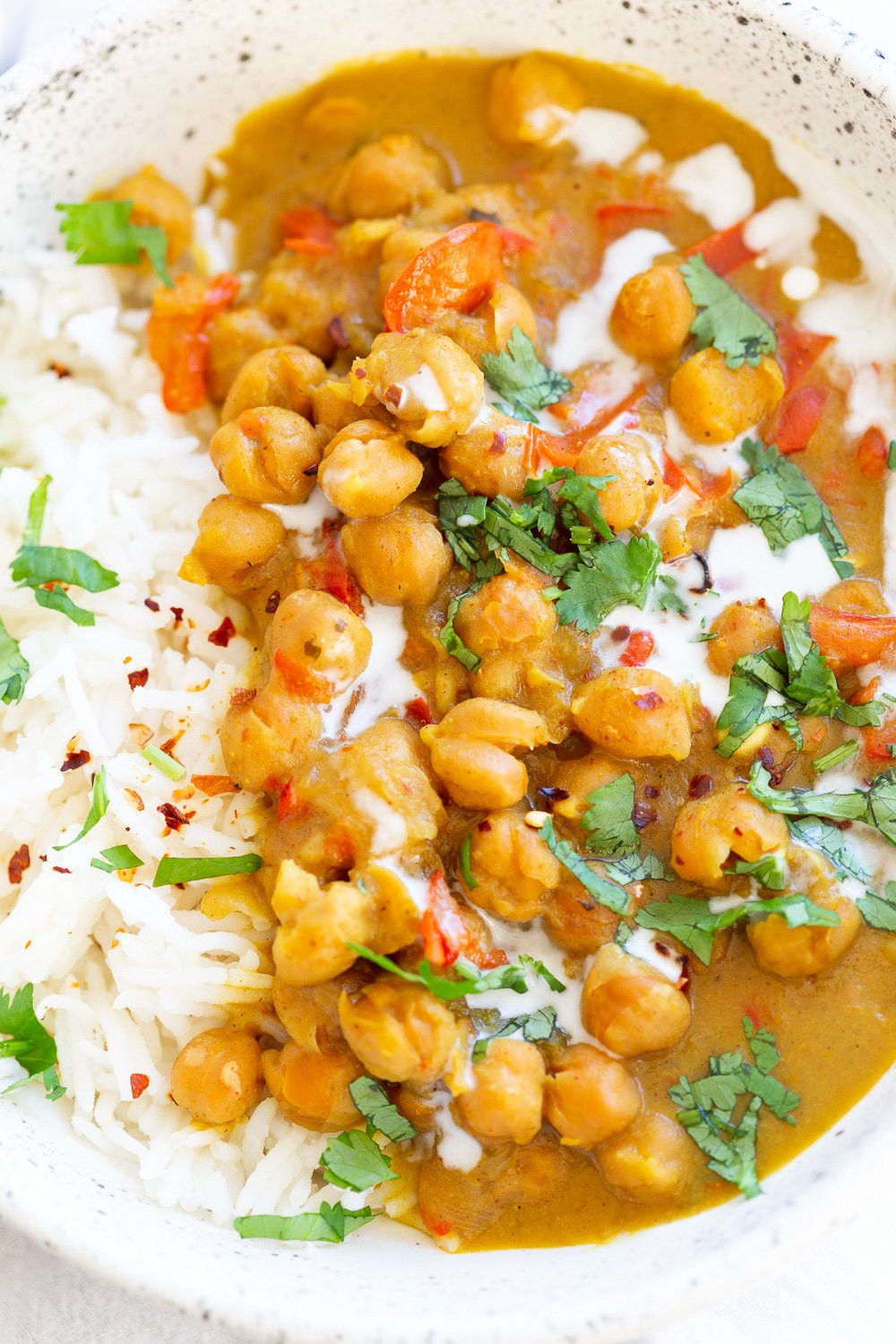 Chickpea Coconut Curry - Instant Pot or Saucepan. This 1 Pot Coconut Chickpea Curry is flavorful and Easy. Add other veggies like sweet potato, squash. #Vegan #Glutenfree #Nutfree #Soyfree #Recipe #Chickpeacoconutcurry #veganricha.