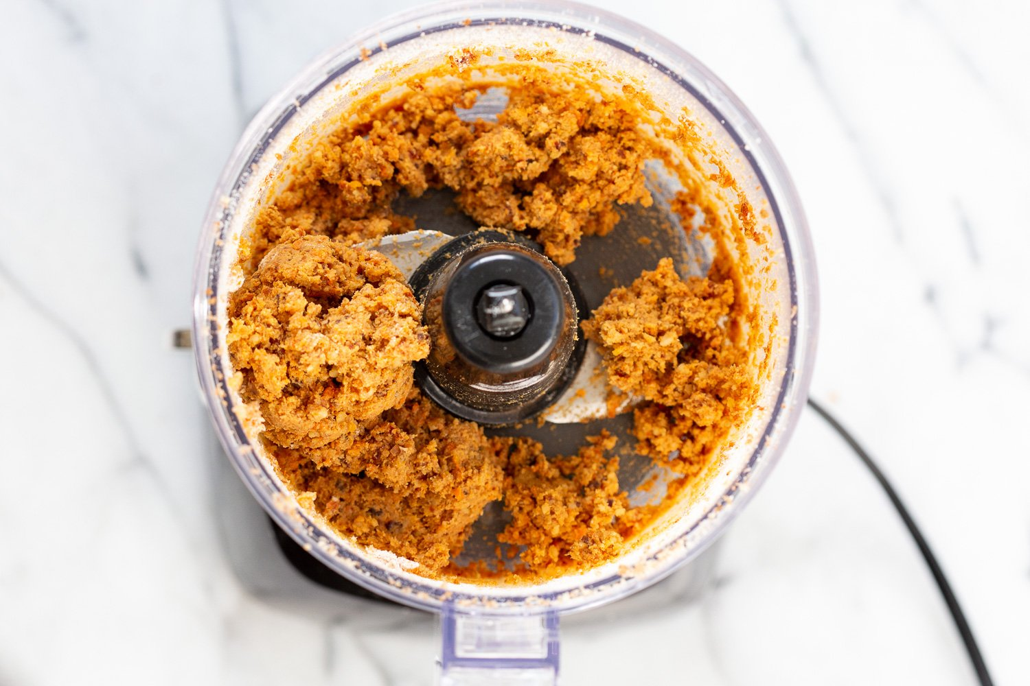 Ingredient in a food processor for our carrot cake bites