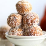Easy Vegan Carrot Cake Bites Recipe! These Spiced Nut and Carrot Cake Balls Need just 8 ingredients and 15 minutes. Grainfree Carrot Cake Bliss Balls. Roll in coconut or dress with vegan cream cheese glaze. #CarrotCakeBites #Vegan #Glutenfree #Grainfree #Soyfree #healthy #VeganRicha VeganRicha.com