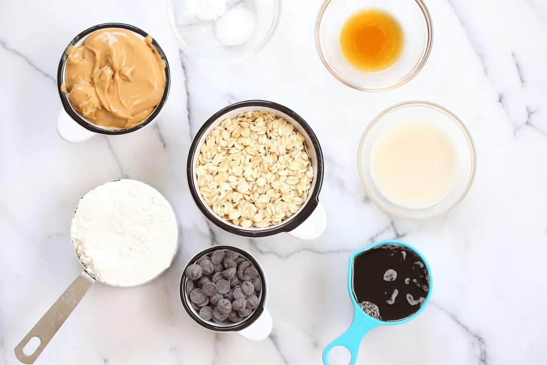 Ingredients for our Vegan Peanut butter Oatmeal Chocolate chip Cookies