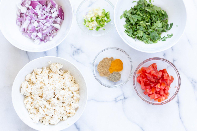 Ingredients for our Vegan Tofu Bhurji in Bowls