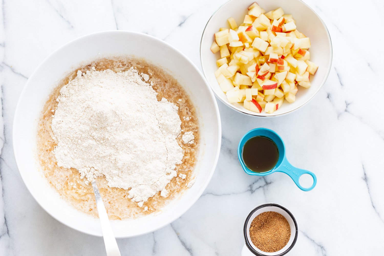 Ingredients for Vegan Apple Cake in Bowls