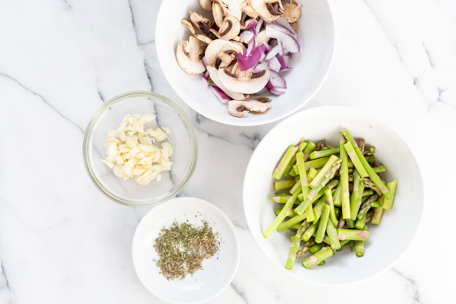 Ingredients in bowls for our Vegan Lemon Asparagus Pasta