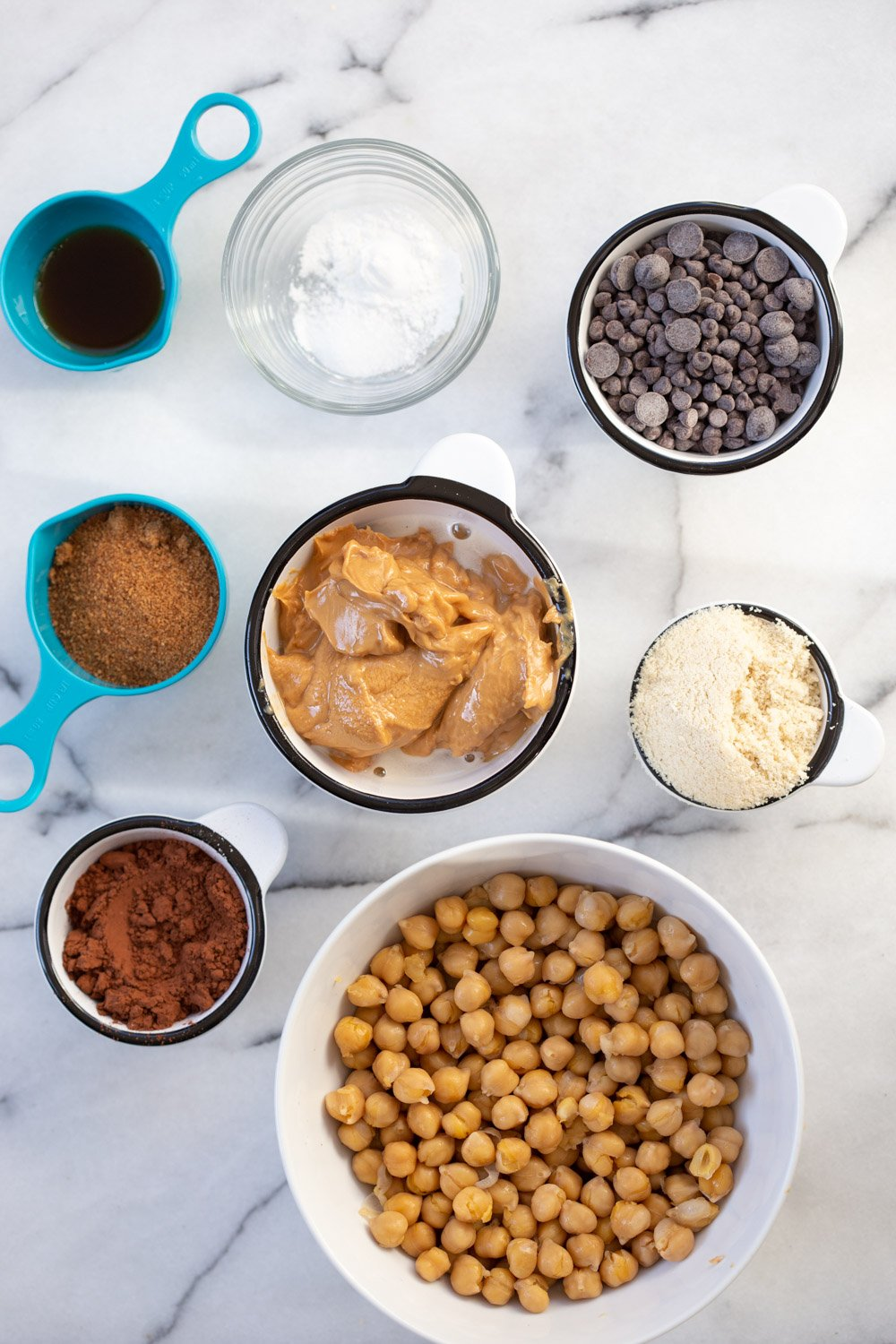 Ingredients for our Vegan Chickpea Brownies in Bowls