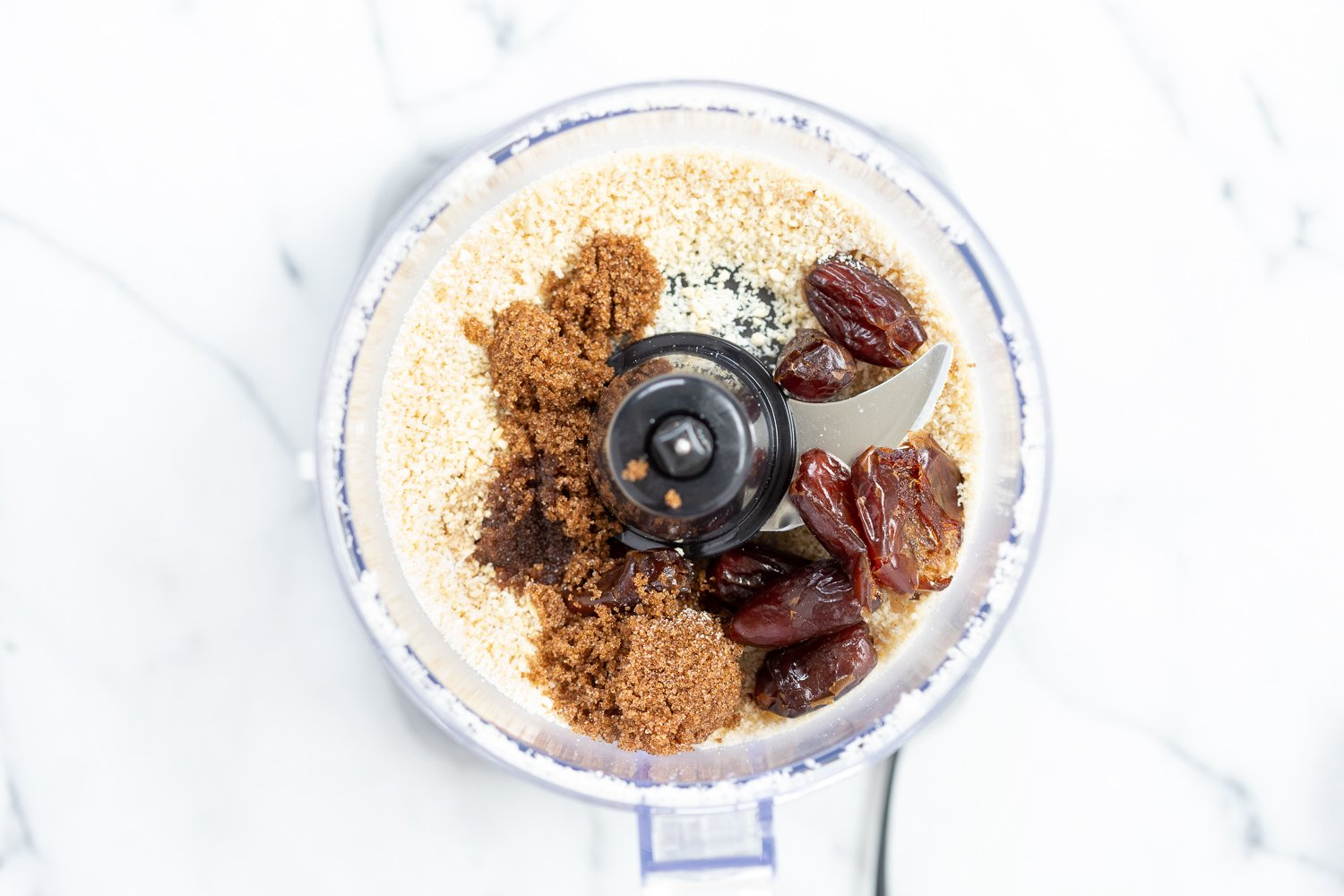 Ingredients for our Vegan Cookie Dough Bites in a food processor
