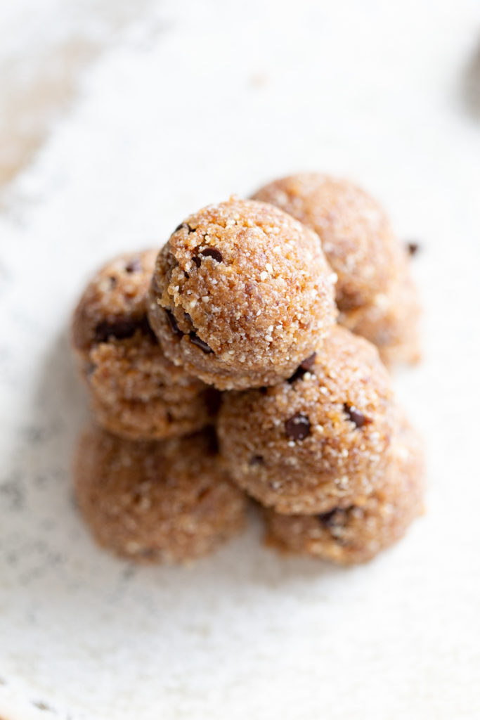Our Vegan Cookie Dough Bites on a white plate