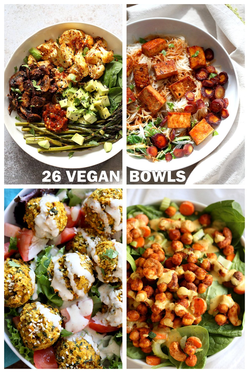 26 Vegan Bowl Recipes to make this Summer. Vegan Buddha Bowls that make nourishing lunches and dinners and not just salad. Roasted Veggie Bowl, Baked Tofu Bowls, Taco Bowls and more. Gluten-free Soy-free Nut-free options. #VeganBowls #VeganRicha