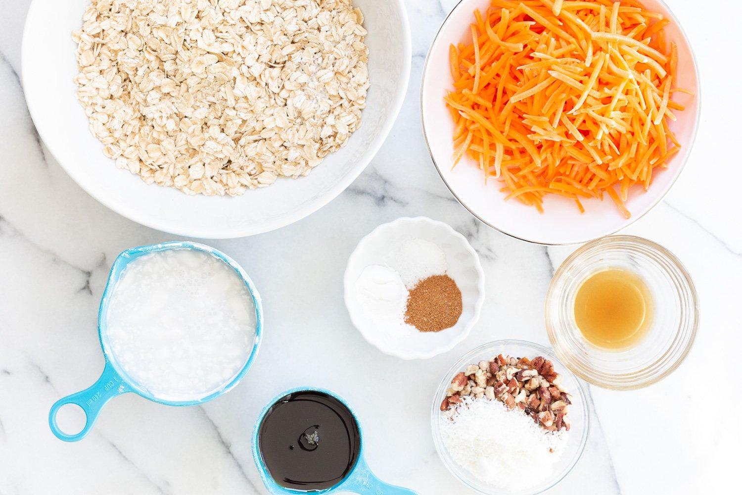 Ingredients for our Vegan Carrot Cake Baked Oatmeal in Bowls