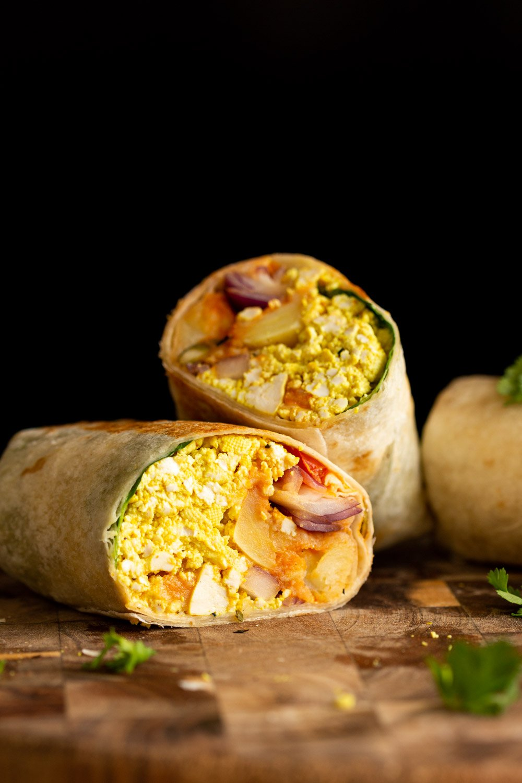 Vegan Breakfast burrito on wooden board