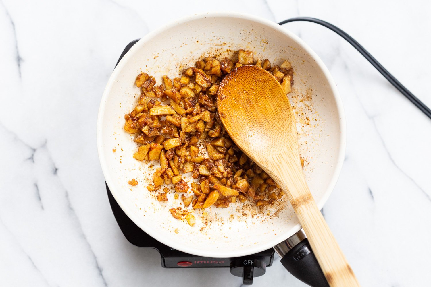 Smoky Balsamic Chickpea Tofu Bits for our Vegan Cacio e Pepe in a while skillet