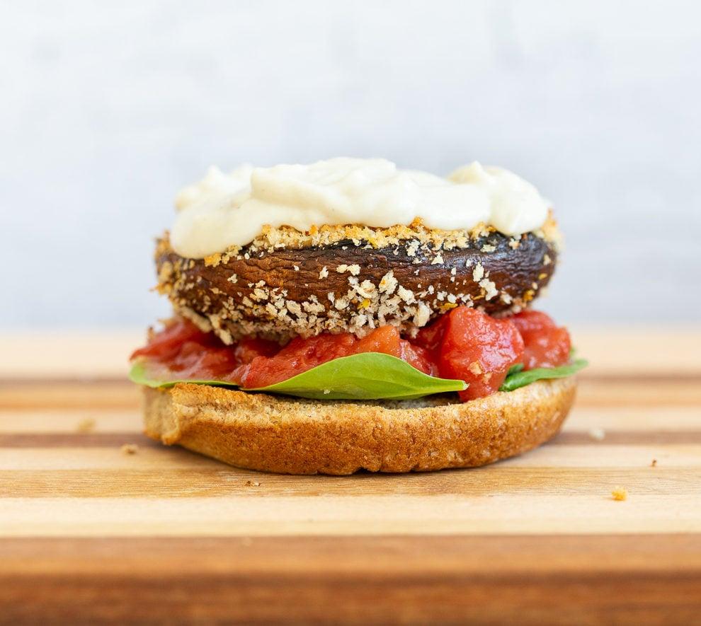 Vegan Portobello Mushroom Burger assembly