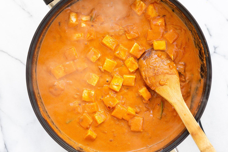Vegan Paneer Lababdar sauce in a black skillet