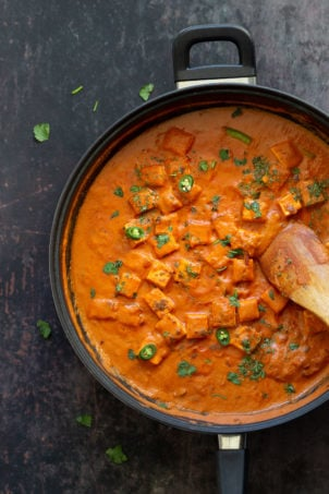 Vegan Paneer Lababdar with Tofu. Tofu with Luscious Tomato Cashew Ginger Sauce. Use this Delicious Indian Sauce with other proteins, chickpeas, veggies, chickpea tofu, tempeh, seitain. #VeganRicha #Paneerlababdar #Vegan #Glutenfree #Recipe Nutfree Soyfree options