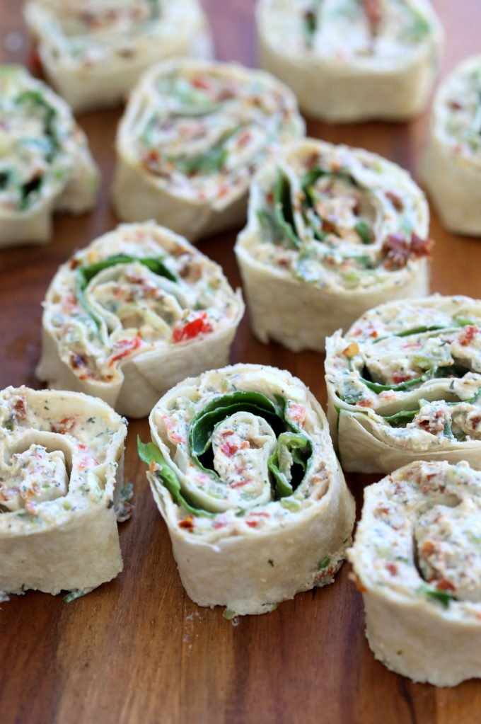 Tortilla Rolls Ups with Tofu herb cream cheese and Sun-dried tomato. Easy No Bake sun dried tomato pinwheels. Vegan Nutfree Recipe, can be gluten-free soy-free #Vegan#veganricha #tortillarollups #sundriedtotmatopinwheels