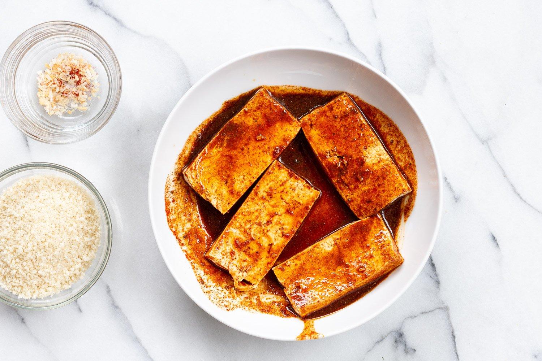 Marinated Tofu in a White Bowl