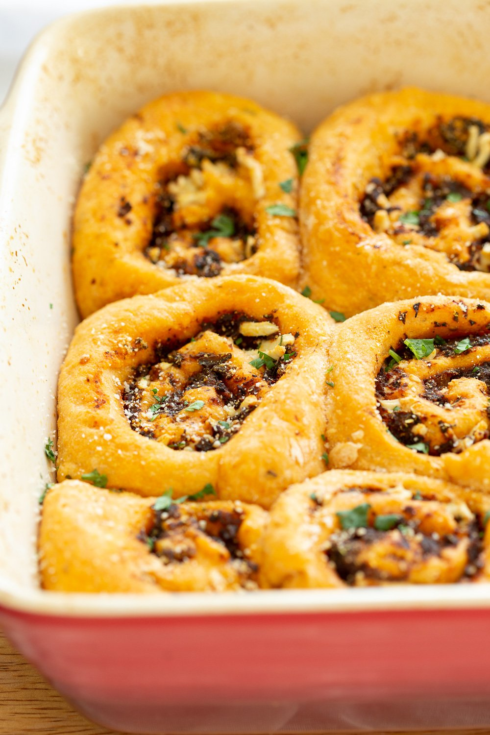 Vegan Pizza Rolls. Easy Pizza dough stuffed with herbed mushroom tomato filling, rolled, sliced and baked. Delicious snack or appetizer! #Vegan #Soyfree #Nutfree #Recipe #Veganpizzarolls #VeganRicha