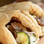 "Vegan Gyros with Mushrooms and Tzatziki. Easy 5 Ingredient Vegan Mushroom Gyro ""meat"" and 5 Minute Vegan Tzatziki. #Vegan #Nutfree #Recipe #VeganRicha #VeganGyros #mushroomGyros Can be Gluten-free"