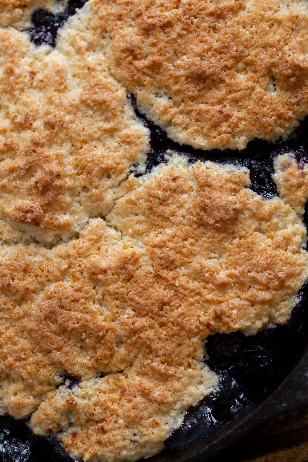 Baked Vegan Blueberry Cobbler close up view
